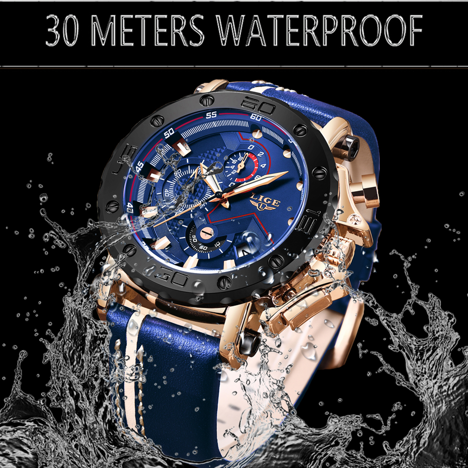 H5eb09c35a37c4c578b5b2c9da7b6d1232 New LIGE Mens Watches Top Brand Luxury Big Dial Military Quartz Watch Casual Leather Waterproof Sport Chronograph Watch Men