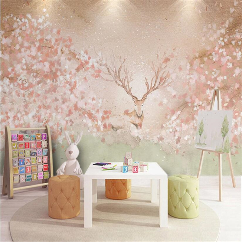 Custom Warm Color Children's Room Background Wall Paper Hand-painted Watercolor Cherry Blossom Elk Mural Wallpaper For Kids Room