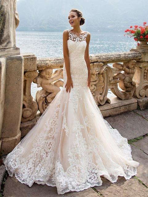 Illusion Backless syrenka/trąbka płaszcza suknie ślubne 2020 romantyczny koronki warstwowe tiul ultra-kobiece suknie ślubne AC002