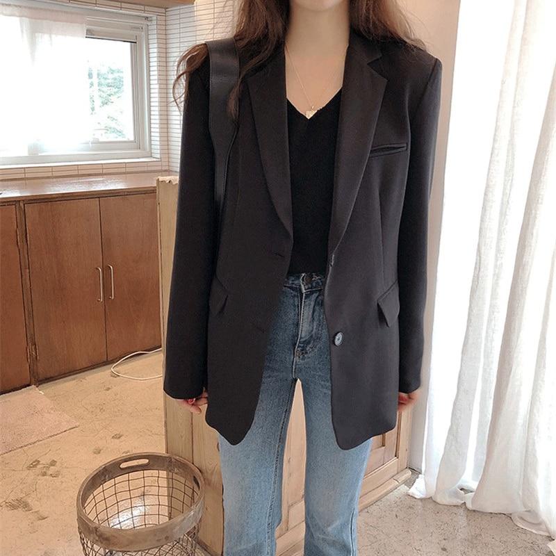 Deal╖Aelegantmis Blazer Jacket Coat Work-Suit Long-Sleeve Slim Office Lady Women New-Fashion