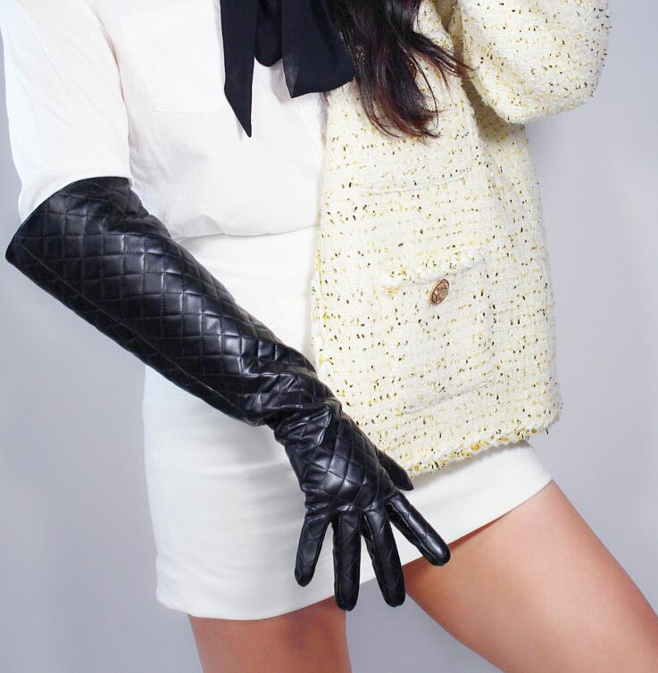 Women's Faux Pu Leather Wide Sleeve Long Gloves Female Plaid Black Leather Gloves 50cm R2490