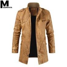 Moomphya Long Style Winter Leather Jacket Men Streetwear War