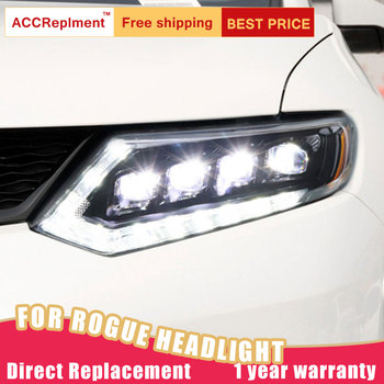 2Pcs LED Headlights For Nissan Rogue X-Trail 2014-2016 led car lights Angel eyes Full LED Fog lights LED Daytime Running Lights
