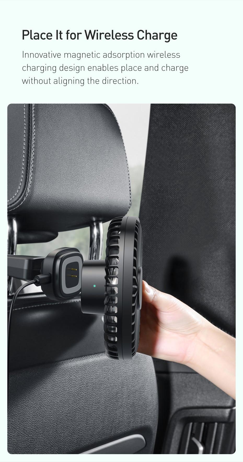 Baseus Natural Wind Magnetic Rear Seat Fan Rechargeable Fan 8