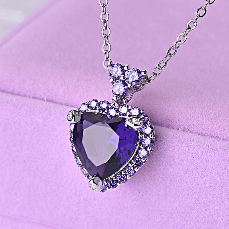 Настоящая твердая 925 Серебряная цепочка Ожерелье Фиолетовый Топаз аметистовая Подвеска для красивых женщин Элитный Драгоценный Камень Свадебный кулон Bizuteria