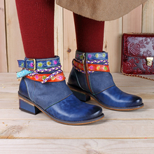 цена на Genuine Leather Women Boots Vintage Bohemian Ankle Boots Women Shoes Zipper Low Heel Ladies  w19