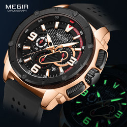 Megir Watches Men 2020 Fashion Chronograph Quartz Watch Man Waterproof Silicone Band Wristwatch Luxury Military Sport Watches