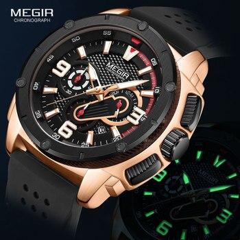 Megir Watches Men 2020 Fashion Chronograph Quartz Watch Man Waterproof Silicone Band Wristwatch Luxury Military Sport