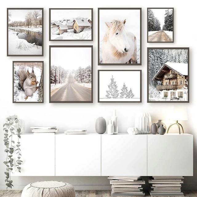 Фото зимние холст картины с изображением белки дом река шоссе пейзаж