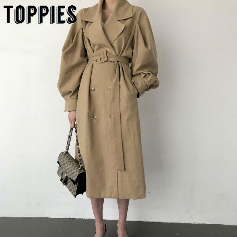 Coupe-vent femmes Trench manteau ceinture taille 2019 automne Double Breated Oversize Long manteau dame Streetwear coréen Outwear