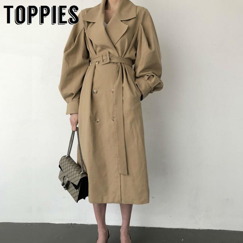 Toppies Windbreaker Women Trench Coat Belt Waist 2019 Autumn Double Breated Oversize Long Coat Lady Streetwear Korean Outwear