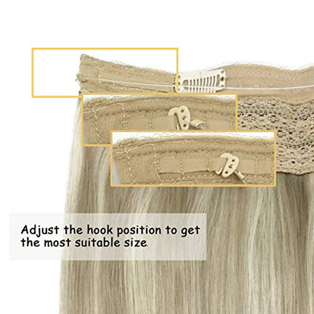 Super Promo 43b512 Hair Extensions Halo Hair Ombre Ash Blonde To Golden Blonde Mixed Platinum Blonde 16 Inch 80g Remy Human Hair Extensions Hidden Cicig Co