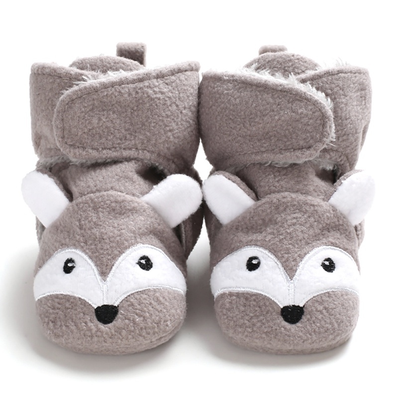 2019 Autumn Winter Warm Cute Fox Baby Soft Bottom Toddler Shoes  Cartoon Animal Anti-Slip Infant Prewalker Unisex Crib Shoes