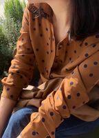 2020 New Caramel Silk Dot Blouse Women Casual Long Sleeve Shirt Loose Top Female Clothing