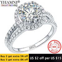 Gran venta anillo de joyería fina con sello S925 anillo de Plata de Ley 925 auténtica de 2 quilates CZ Diamant anillos de boda para mujer R510