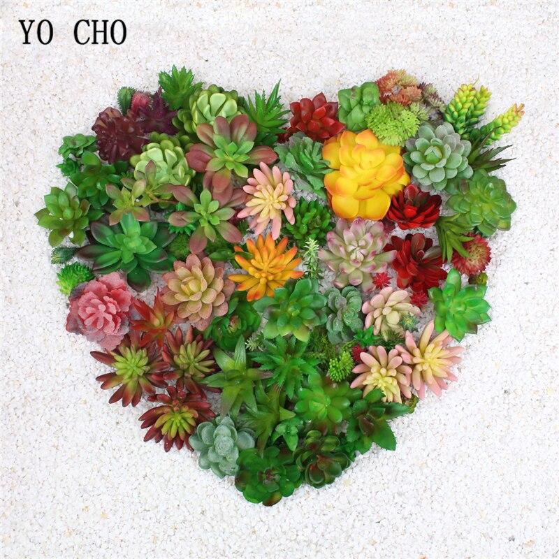 YO CHO Artificial Plants Mini Succulents Green Artificial Succulents Fake Plant Christmas Party Wedding Table Decor Stone Lotus