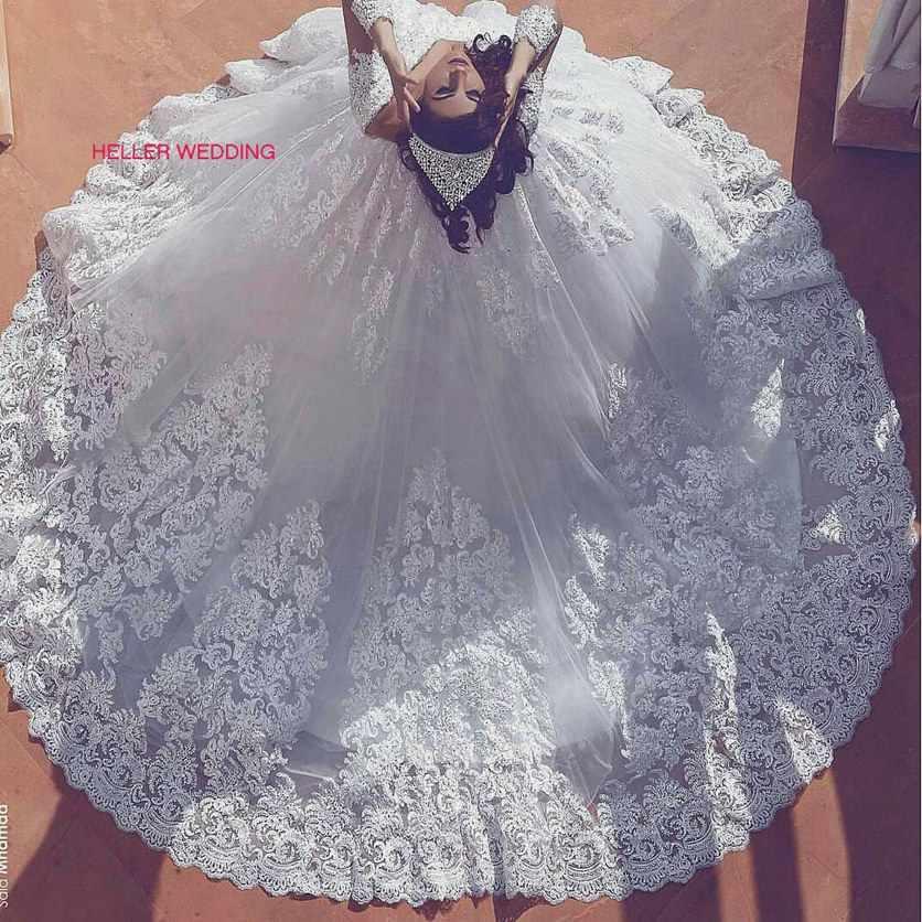 Mewah Mewah Gaun Turki Deep V Leher Kereta Kapel Renda Manik-manik Penyiangan Gaun untuk Pengantin Vestido De Noiva Manga Longa