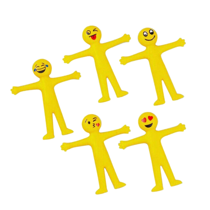 5 X Stretchy Smile Men Party Bags Fillers Party Favour Gifts (Yellow)