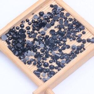 Стразы из черной смолы 2-6 мм, круглые стразы с плоской задней поверхностью, аппликации без горячей фиксации со стразами для рукоделия, тканевые свадебные платья