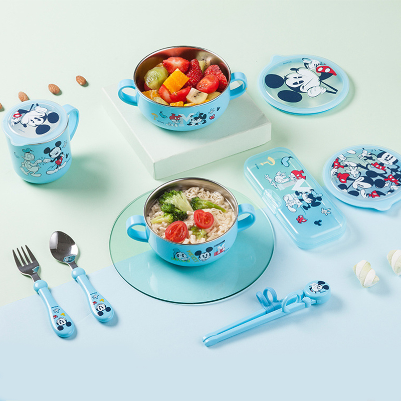 Disney CHILDREN'S Tableware 5 Pieces-Baby Eating Drop-resistant Water Injection Insulated Sucker Bowl Children New Style 7 Piece