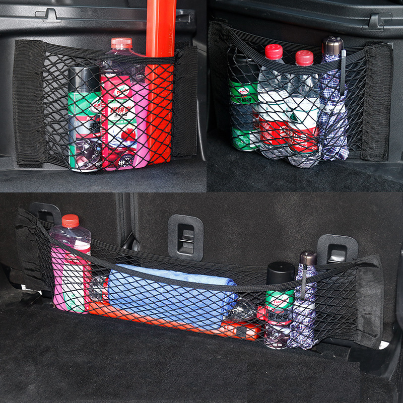 Tamaño a 4 Auto trasero asiento para maletero cadena red elástica magia etiqueta bolsa de red de almacenaje bolsillo de la jaula de organizador asiento mochila