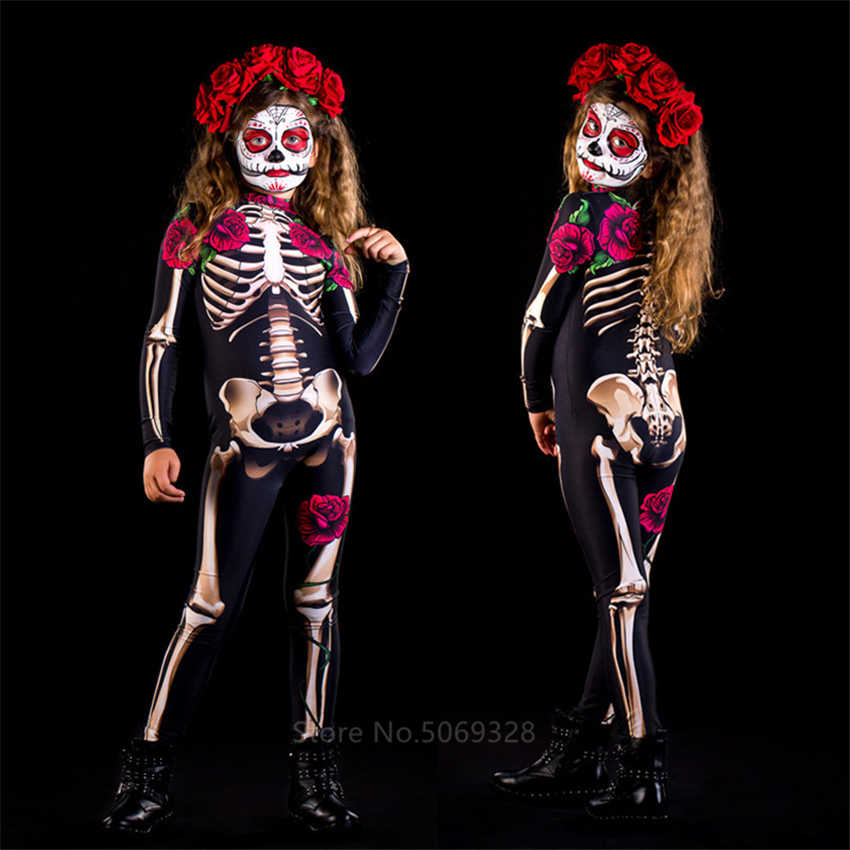 Skeleton Rose Sexy Vrouwen Halloween Duivel Ghost Jumpsuit Party Carnaval Prestaties Scary Kostuum Kids Baby Meisje Dag Van De Dode