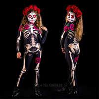 Esqueleto Rosa Sexy mujeres Halloween diablo mono de fantasma fiesta carnaval actuación disfraz aterrador niños niña Día de los muertos