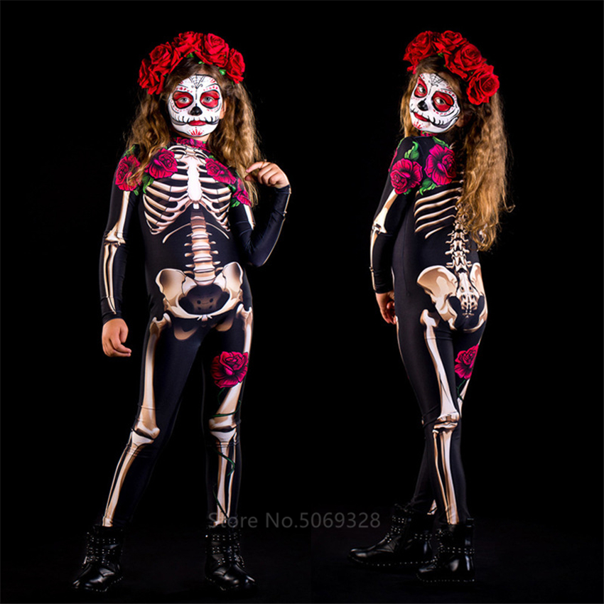 Skeleton Rose <font><b>Sexy</b></font> <font><b>Women</b></font> <font><b>Halloween</b></font> Devil Ghost Jumpsuit Party Carnival Performance Scary Costume Kids Baby Girl Day Of The Dead image