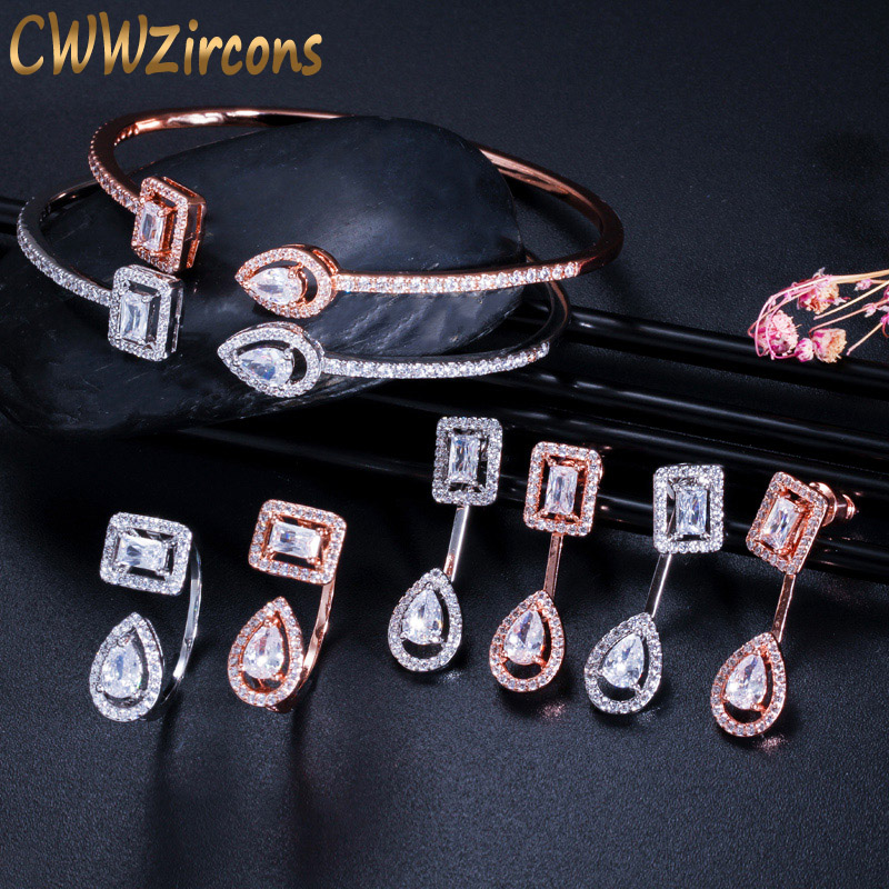 CWWZircons Brand Fashion Ladies Jewelry Set Micro Pave CZ Stone Cuff Bracelet Bangle Rings Earrings for Women Engagement T338