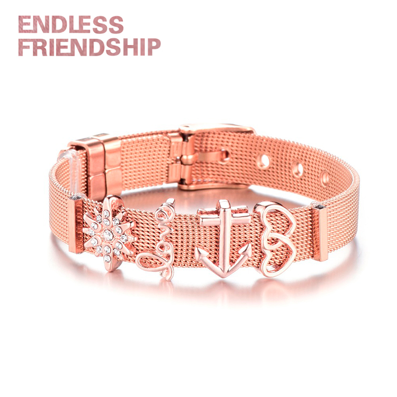 Endless Friendship Fashion Women Bracelet Stainless Steel Mesh Bracelet Set Crystal Heart Anchor Bracelet for Woman Dropshipping in Chain Link Bracelets from Jewelry Accessories