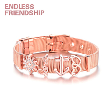 Endless Friendship Fashion Women Bracelet Stainless Steel Mesh Set Crystal Heart Anchor for Woman Dropshipping