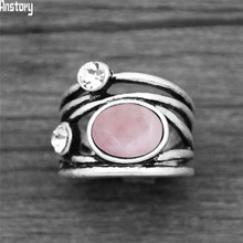 Natural Quartz Lapis Jades Plant Rings Vintage Fashion Women Ring(China)