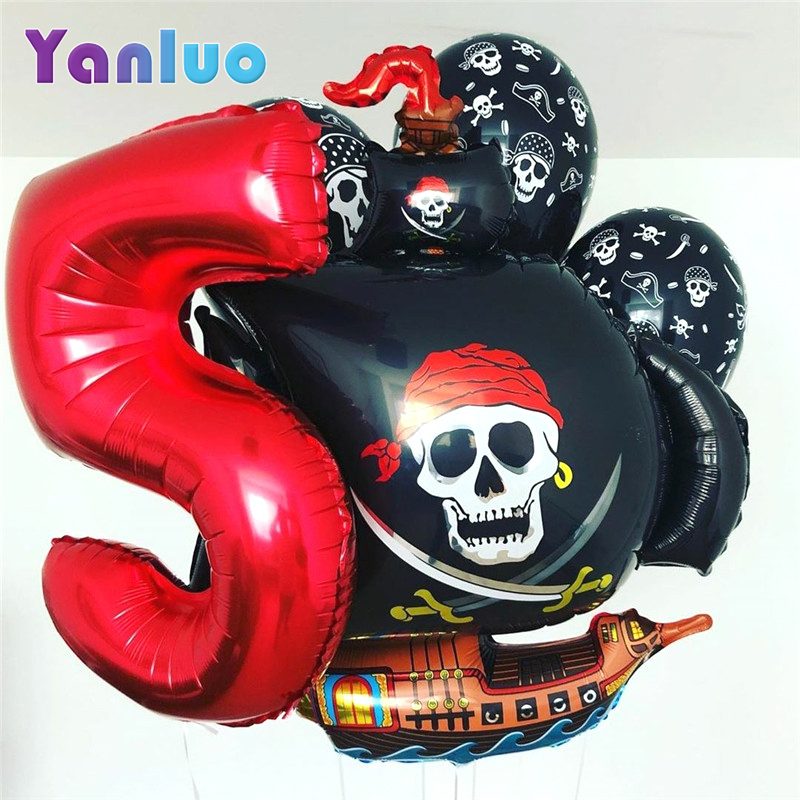 Пиратская тема, вечерние шары из алюминиевой фольги, вечеринка для мальчика день рождения вечерние украшения для детского душа, детские игр...