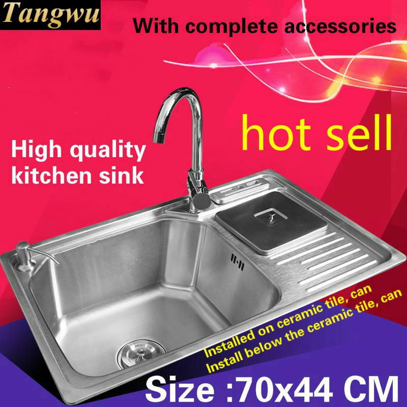 Tangwu Fashionable Luxurious Kitchen Sink 0.8mm Thick Food Grade 304 Stainless Steel Heat Sale High-end Big Single Slot 70x44 CM