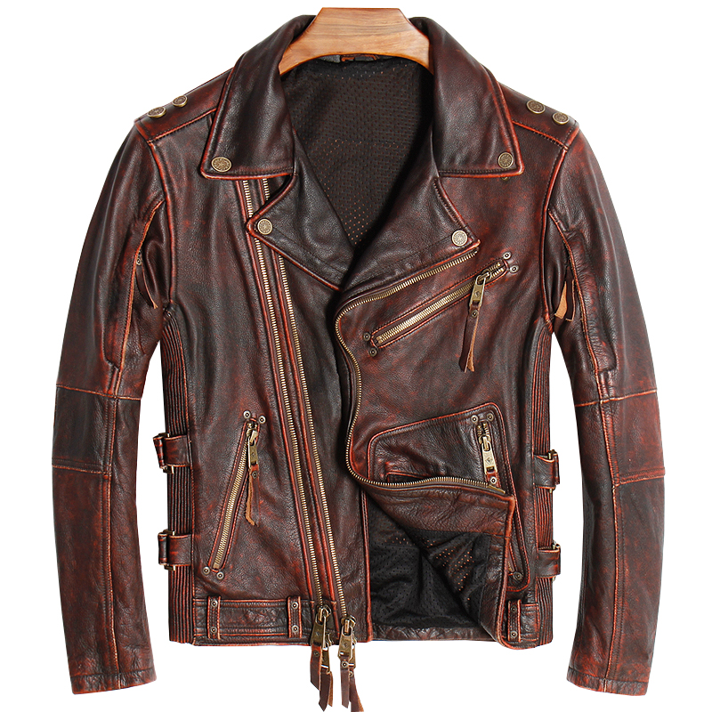 2020 Vintage Brown American Men Biker's Leather Jacket Plus Size XXXXL Genuine Thick Cowhide Autumn Slim Fit Motorcycle Coat