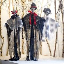 New Creepy Skeleton Face Hanging Ghost Halloween Decoration Horror Haunted House Halloween Hanging Props Supplies ghost face plus size skew neck halloween sweatshirt