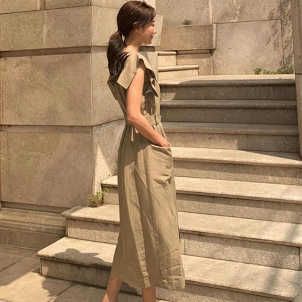 韓国スタイルのミディドレス女性フリルベルトエレガントなポケットスタイリッシュなオフィスの女性カジュアル夏ドレスホリデーハイウエスト 2019