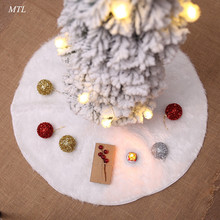 MTL White Plush Christmas Tree Skirts Fur Carpet Merry Decoration Home Natal for New Year