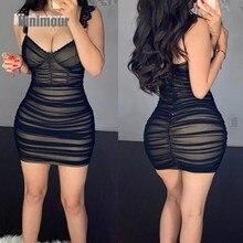 2021 verão moda feminina elegante sexy sem mangas cinta de espaguete festa cílios rendas guarnição pura malha ruched bodycon vestido