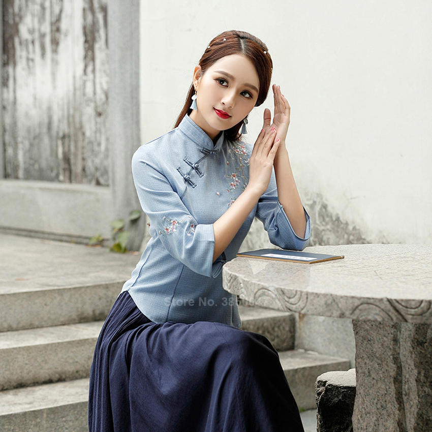 Women Qipao Dress Ancient Chinese Cheongsam Top Embroidery Linen Skirt Vintage Floral Tang Suit Elegant Plus Size Blouse Navy