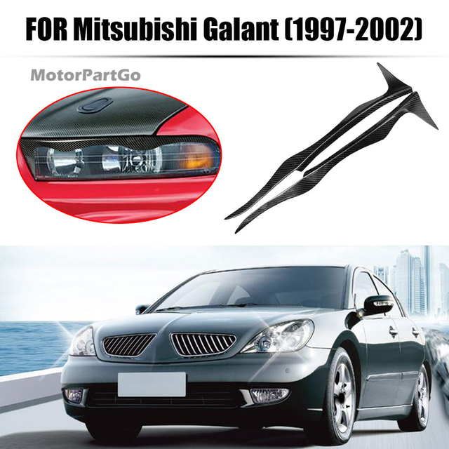 Real Crabon Fiber Head light Eyelid Eyebrow Cover Trim 1pair for Mitsubishi Galant 1997-2002 T210 3
