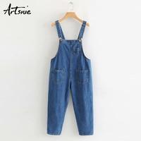Artsnie streetwear casual denim women jumpsuit autumn 2019 sleeveless pockets jeans calf length pants blue rompers overalls