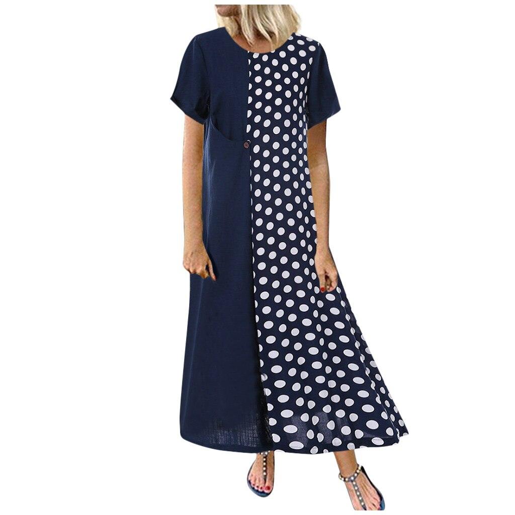 MISSOMO Plus Size 5XL dress Women vestidos Cotton and Linen Dot Print long Wave Maxi Dress women Casual Dresses Wholesale 730