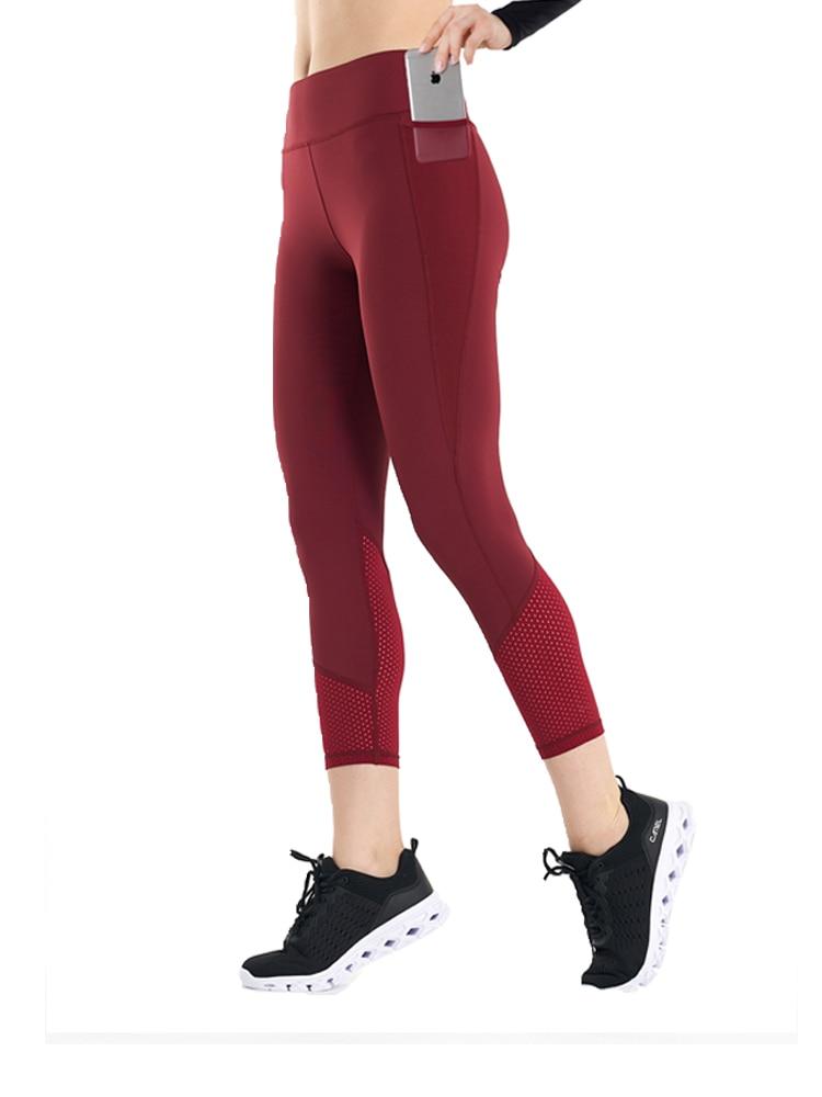 JINSEYUAN Seamless High Waist Yoga Leggings Mesh Breathable fabric Pocket Pants 7/8 Length workout Fitness Clothing