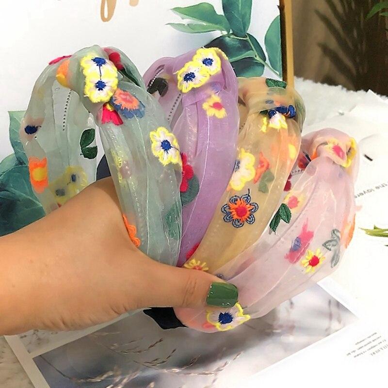 Women Sweet Hairband Organza Embroidery Flower Knot Headbands Hair Hoop