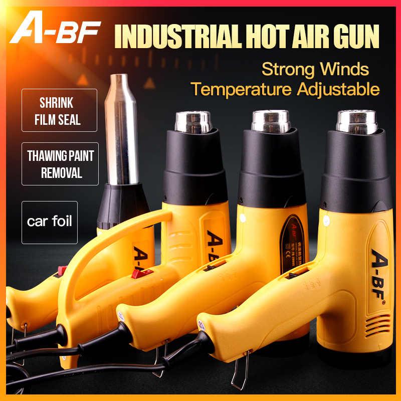 A-BF الحرارة الصناعية يتقلص بندقية شاشة ديجيتال مسدس هواء ساخن البلاستيك شعلة لحام مجفف الشعر الساخن سيارة احباط تحميص 1600 واط/2000 واط