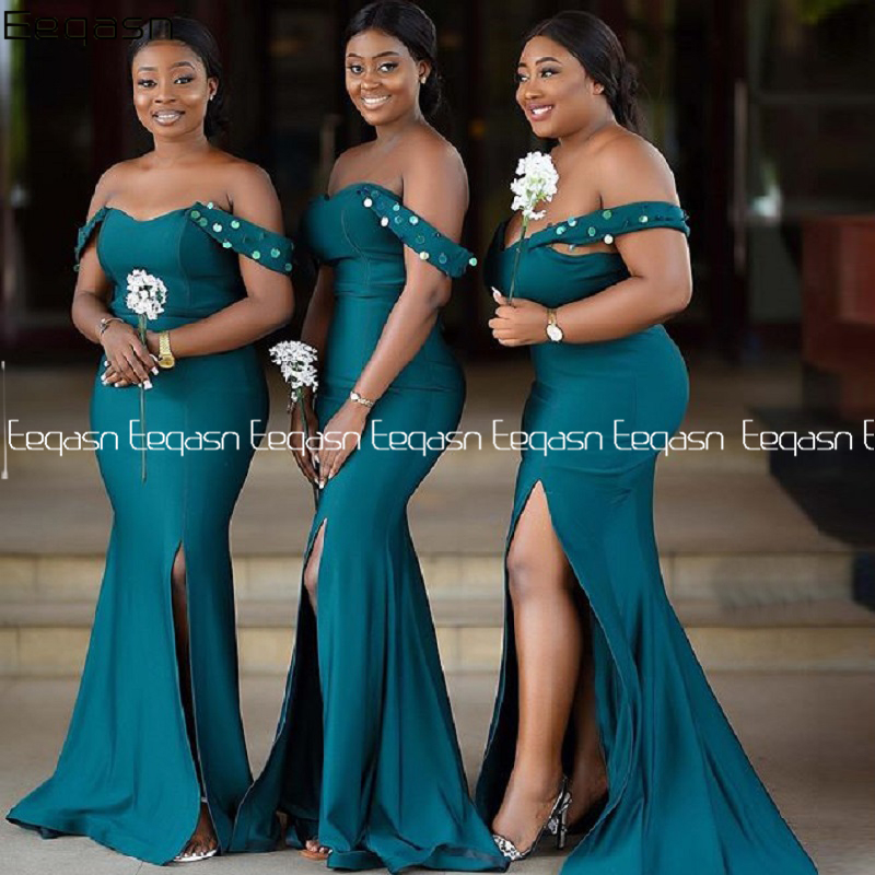Длинные платья русалки с открытыми плечами, платья подружки невесты с V образным вырезом размера плюс для свадебной вечеринки 2020