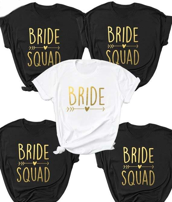 COUPLE'S T-shirt Bride/Bride Squad [Gold Font] Short Sleeved
