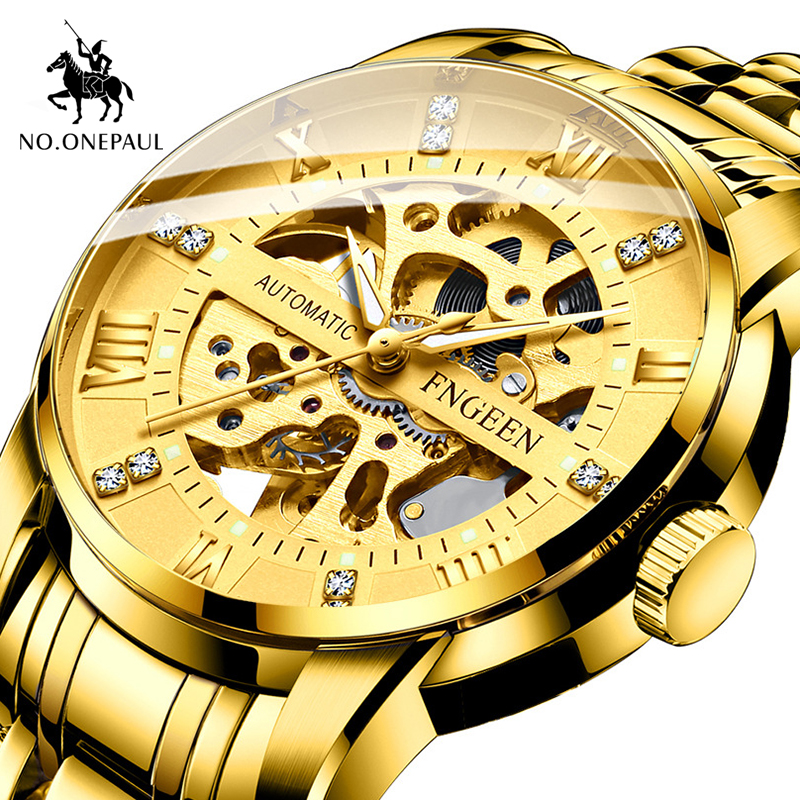 hot sale Chronograph Luxury Gold Men's Watch Stainless Steel Chronograph Automatic Date watches men Business Quartz Watch for me image