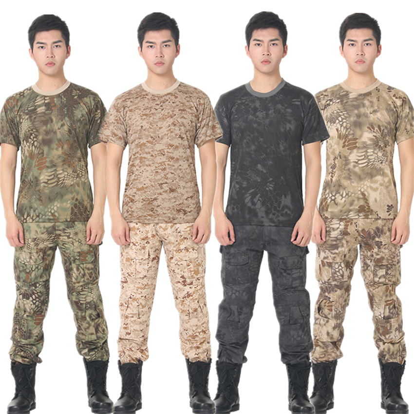 6Color Mens Army Special Forces Summer Short Sleeve Quick Drying Camouflage Soldier Tactical Clothing Military Uniform Tops